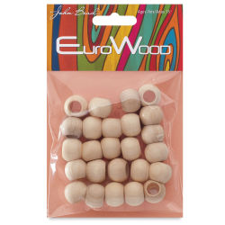 John Bead Euro Wood Beads - Natural, Round, Large Hole, 14 mm x 11 mm, Pkg of 25