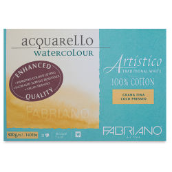 "Fabriano Artistico Enhanced Watercolor Block - Traditional White, Cold Press, 7"" x 10"""