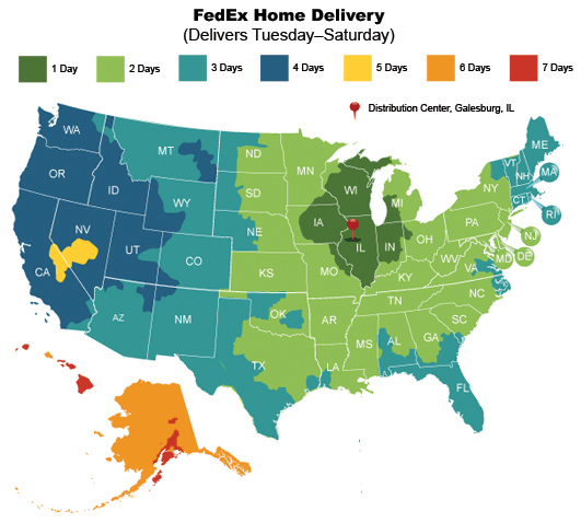 US Map Home Delivery Estimates