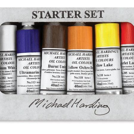 Michael Harding Artists Oil Color - Starter Set, Set of 6 colors, 40 ml tubes
