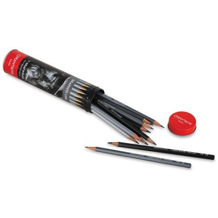 Caran d'Ache Grafwood Pencil Set - Assorted, Metal tube, Set of 15