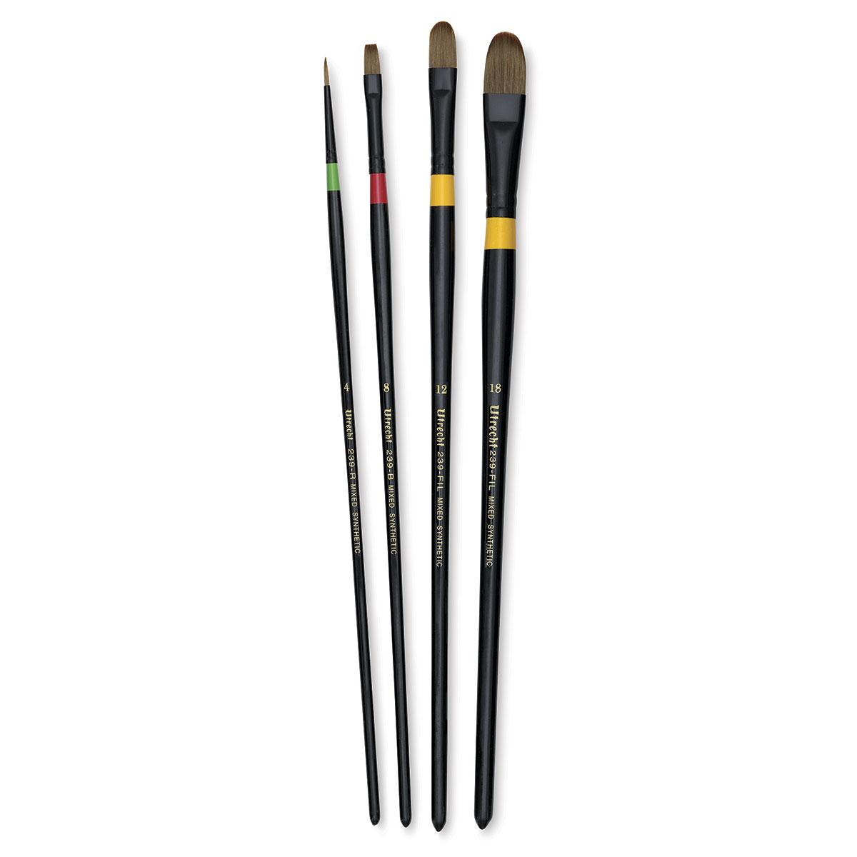 Utrecht Manglon Brushes-Set of 4, Long Handle