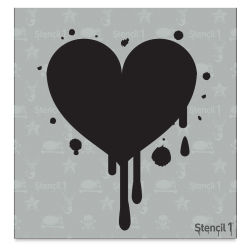 "Stencil1 Stencil - Dripping Heart, 5-3/4"" x 6"""