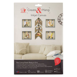Fredrix Create & Hang Inkjet Canvas - Pkg of 10, 8-1/2'' x 11''