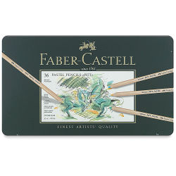Faber-Castell Pitt Pastel Pencil Set - Assorted Colors, Tin Box, Set of 36, front cover