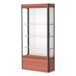 Waddell Contempo Series Display Case - White, Cherry Base with Dark Bronze Frame, Medium