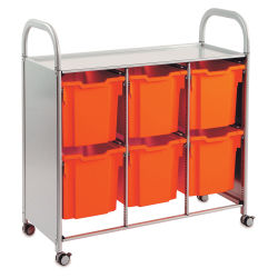 Gratnells Callero Plus Cart - Treble Cart, 6 Jumbo F3 Trays, Flame Red