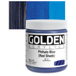 Golden Heavy Body Artist Acrylics - Phthalo Blue (Red Shade), 8 oz Jar