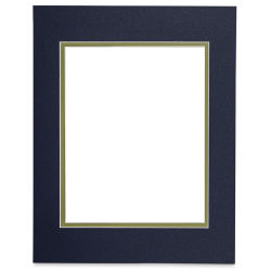 Blick Double Mat - Newport Blue / Green Pear, 11'' x 14'' (7-1/2'' x 9-1/2'' Opening)