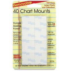 Removable Mounting Tabs - 1'' x 1'', Pkg of 40
