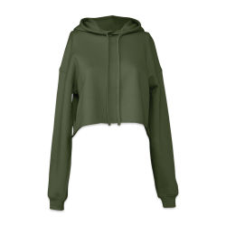 Bella + Canvas Cropped Fleece Hoodie - Military Green, Size Medium