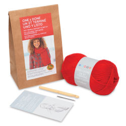 Lion Brand One and Done Yarn Kit  - Hot Tamale Crochet Scarf