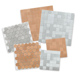 Diamond Tech Metal Tile Half Sheet - Bulk Pack, 6 Sheets, Stainless Steel and Rose Gold