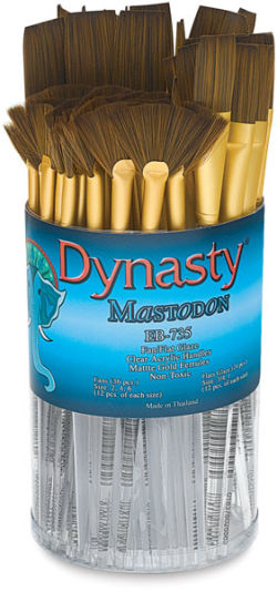 Dynasty Mastodon Synthetic Brush Canister - Fan/Glaze, Set of 60