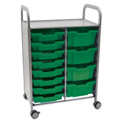 Gratnells Callero Plus Cart - Double Cart, 8 Shallow and 4 Deep Trays, Grass Green