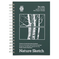 Pentalic Nature Sketch Book - 9'' x 6'', 50 Sheets, Wirebound