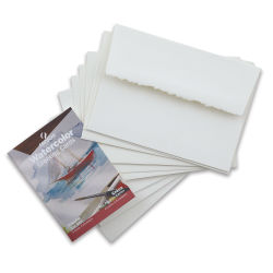 Canson Blank Greeting Cards - White, Watercolor with Envelope, Pkg of 6