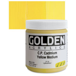 Golden Heavy Body Artist Acrylics - Cadmium Yellow Medium, 8 oz Jar
