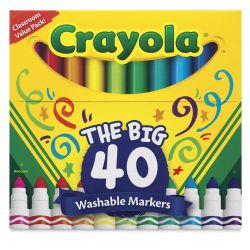 Crayola Ultra-Clean Washable Marker Set - Broad Tip, Set of 40