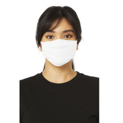 Bella Canvas Adult Reusable Face Mask - Solid White, S/M, Shown in use.