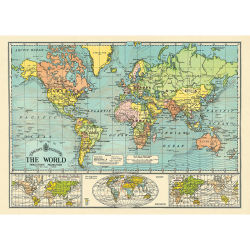 Cavallini World Map 6 Gift Wrap