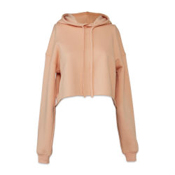 Bella + Canvas Cropped Fleece Hoodie - Peach, Size Small