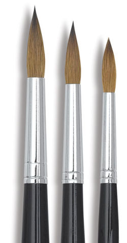 Kolinsky Round Brushes, Set of 3
