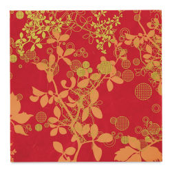 "Black Ink Thai Mulberry Screenprinted Chinaberry Decorative Paper - Red, 12"" x 12"""