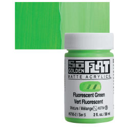 Golden SoFlat Matte Acrylic Paint - Fluorescent Green, 59 ml, Jar with Swatch