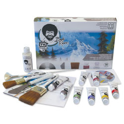 Bob Ross Master Oil Paint Set - Front of box with brushes and paint tubes in foreground.