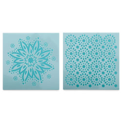 Plaid Fabric Creations Adhesive Stencil - Boho Flower, 2 Stencils, 6'' x 6''