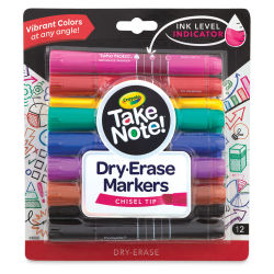 Crayola Take Note Dry-Erase Markers - Assorted Colors, Chisel Tip, Set of 12