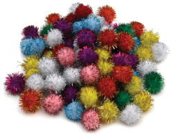 Glitter Poms, Pack of 80