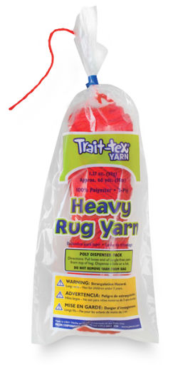 Trait-Tex Heavy Polyester Rug Yarn - 1.37 oz, 3-Ply, 60 yd, Red