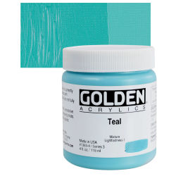 Golden Heavy Body Artist Acrylics - Teal, 4 oz Jar