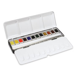 Daler-Rowney Aquafine Watercolors and Sets - Metal Tin, Set of 12, Assorted Colors, Half Pan