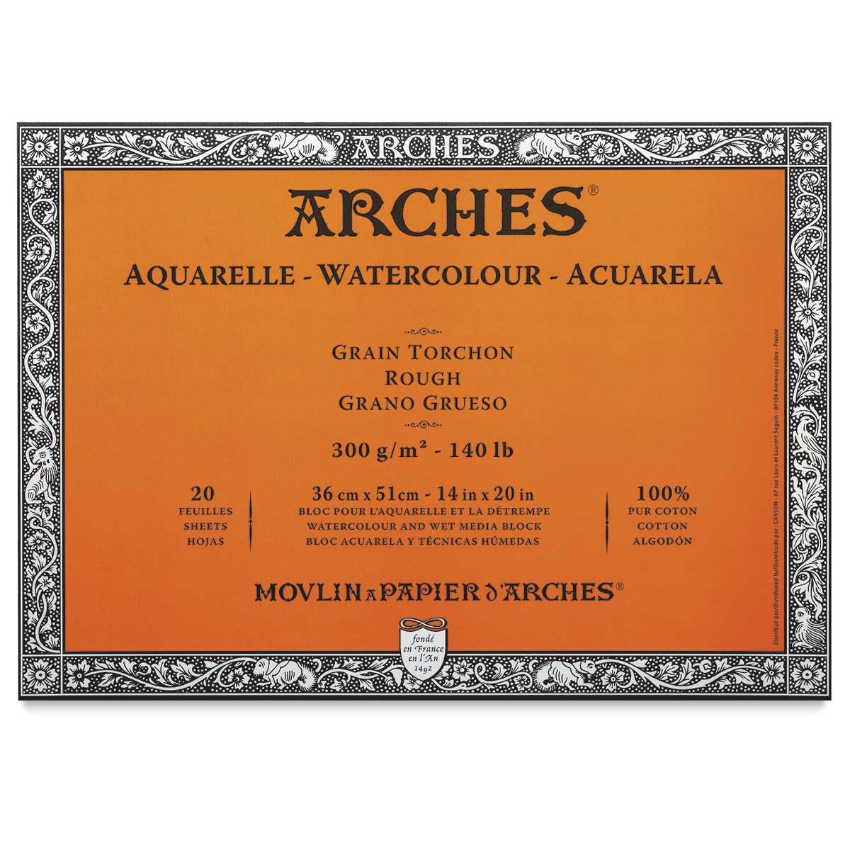 "Arches Water Colour Block 14/"" x 20/"" Rough Block Paper 140lb // 300gsm Rough"