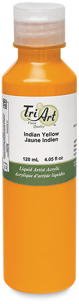 Tri-Art Finest Liquid Artist Acrylics - Indian Yellow, 120 ml bottle