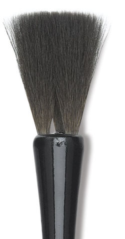 Luco Black Squirrel Brush - Square-Edged, 3 Locks