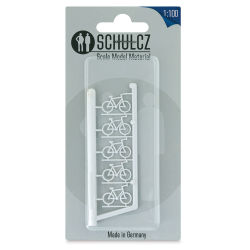 "Schulcz Scale Model Vehicles - Bicycles, Pkg of 5, 1:100, 1/8"" (front of package)"