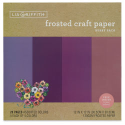 "Lia Griffith Frosted Craft Paper - Berry, 12"" X 12"", 20 Sheets, 130 gsm"