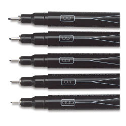 Black, Set of 5 Fine Line  Assorted Tips