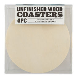 Unfinished Wood Coasters - Circle, Pkg of 4