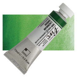 PWC Extra Fine Professional Watercolor - Cadmium Green, 15 ml, Swatch with Tube