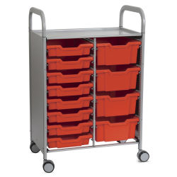 Gratnells Callero Plus Cart - Double Cart, 8 Shallow and 4 Deep Trays, Flame Red