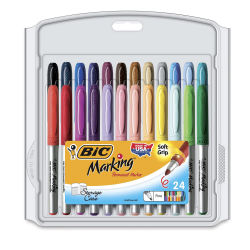 Bic Mark-It Color Collection Permanent Markers - Assorted Colors, Fine Tip, Set of 24