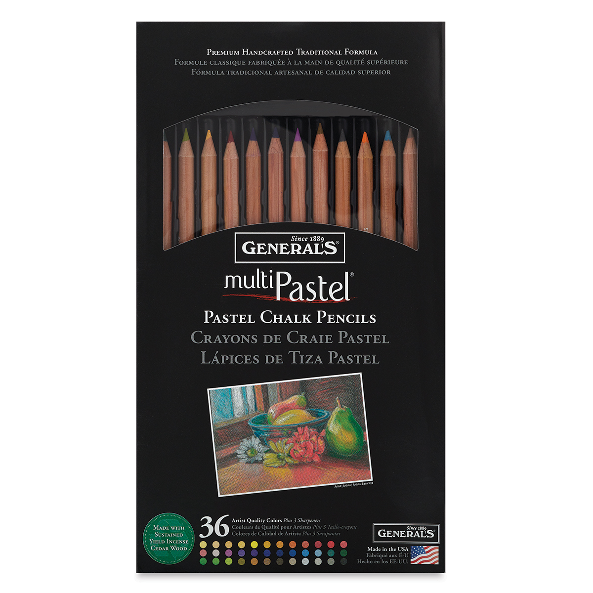 General/'s MultiPastel Compressed Chalk 4-Count Traditional Sketching Set