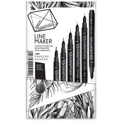 Derwent Line Makers - Black, Pkg of 3