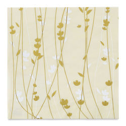 "Black Ink Thai Unryu Screenprinted Meadow Flowers Decorative Paper - Cream/Gold/White, 12"" x 12"""