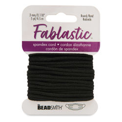 Round Stretch Cord, Black, 3 mm x 5 yd
